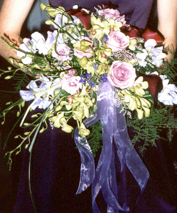 bridesmaid with a wedding bouquet